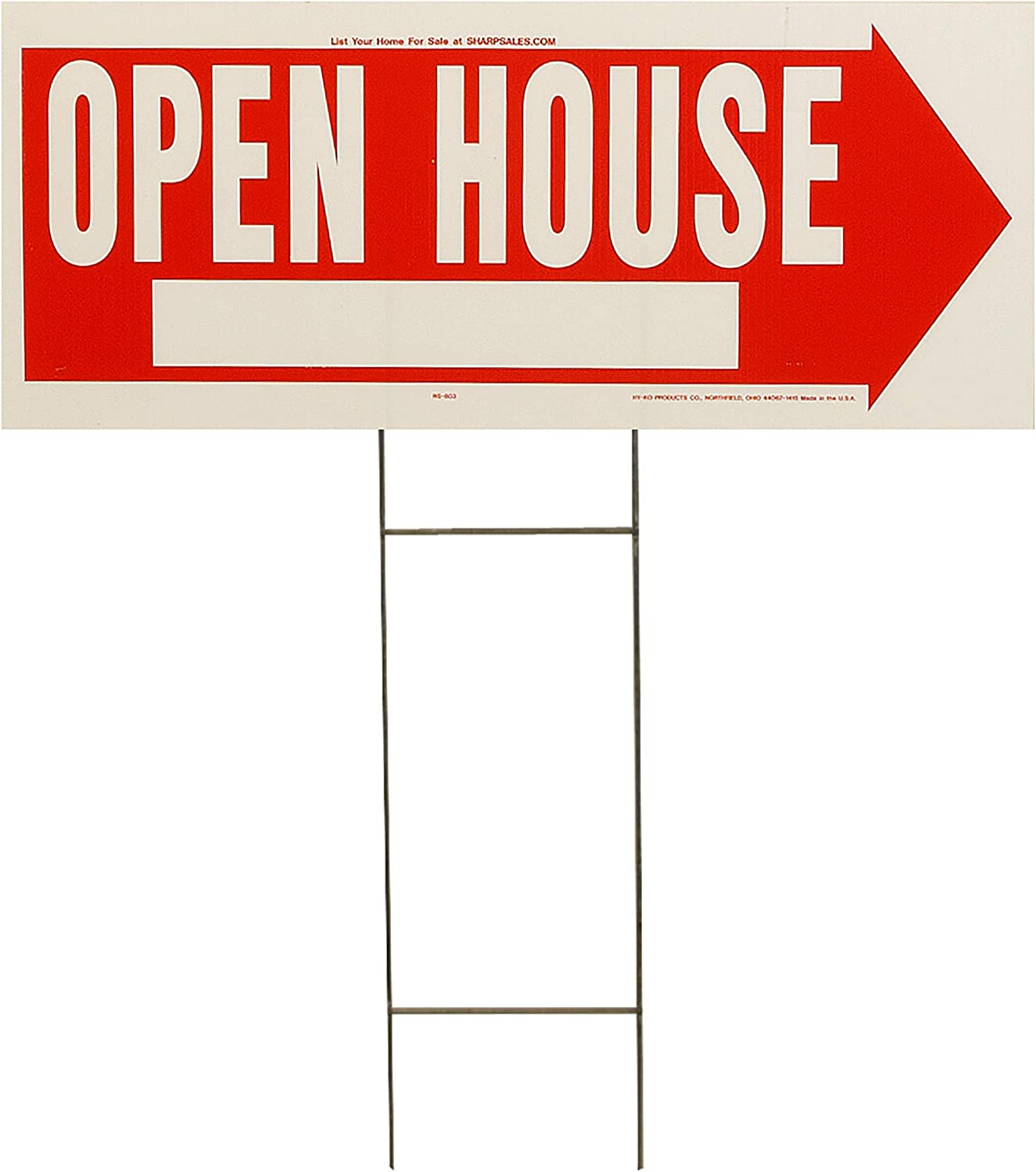 """Hy-Ko Products RS-803 Open House Corrugated Plastic Sign w/ H Bracket 9.25"""" x 24"""" Red/White, 1 Piece"""