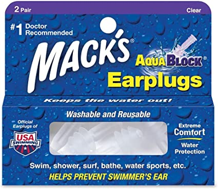 Mack/'s Swimming Watersports Ear Plugs MACKS AQUABLOCK Earplugs purple 2 Pairs