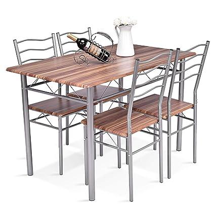 d5fae448e44b Amazon.com - Tangkula 5 Pcs Dining Table Set Home Kitchen Wood Metal Modern  Furniture Dining Table and Chairs Set - Table   Chair Sets