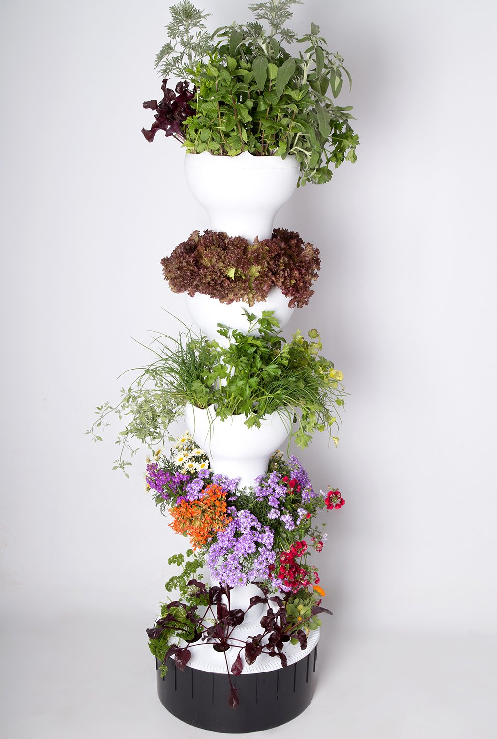 Foody Tower - Stacking Vertical Garden - Soil in Growing Pods & Hydroponic in Reservoir - Productive and Attractive