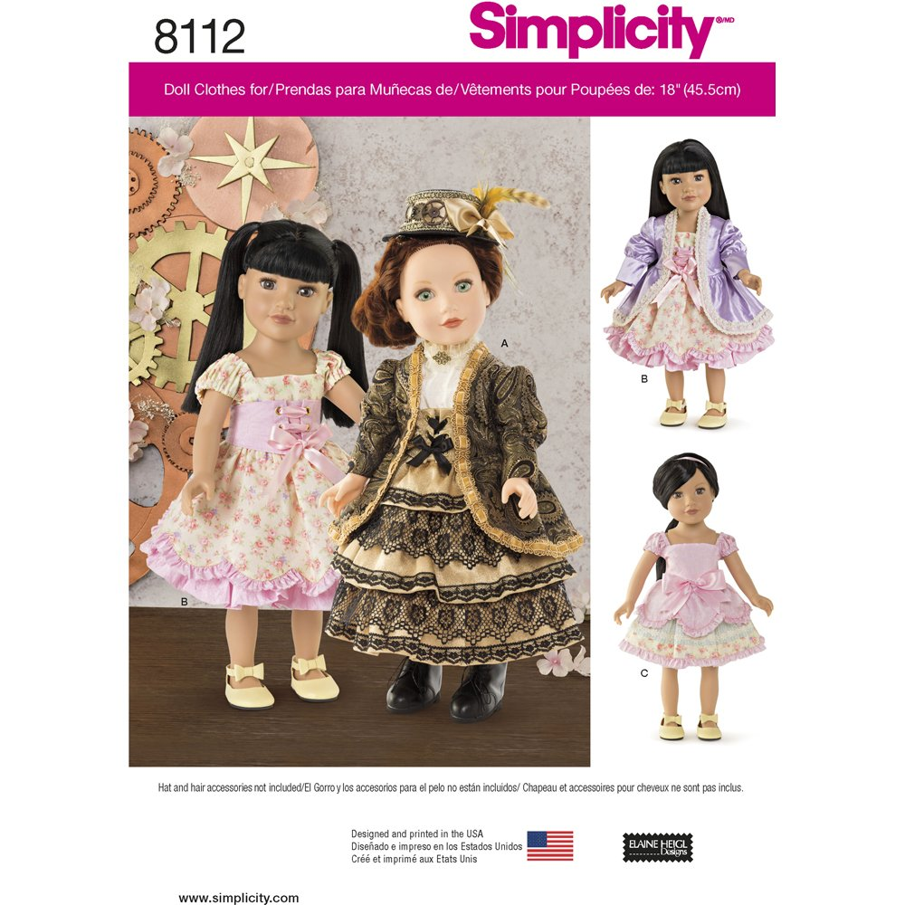 Simplicity Creative Patterns Simplicity Patterns 18 Inch Doll Clothes Size: One Size (One Size)), 8112 by Simplicity Creative Patterns   B01BO5JHJ4