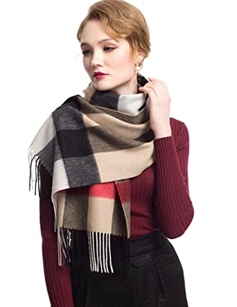 bf7d0551d STORY OF SHANGHAI Womens Handmade Plaid Cashmere Scarf Warm Winter Fringe Wool  Scarf