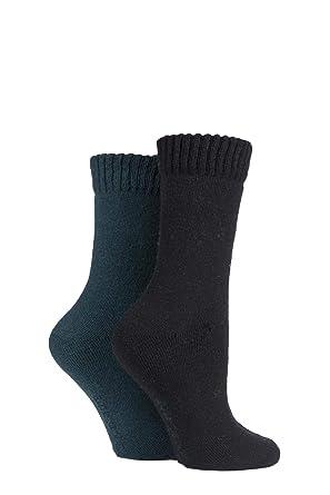 34798ece12 Ladies 2 Pair SockShop Wool Mix Plain Boot Socks (4-8 Ladies, Black ...
