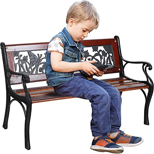 Sophia William Outdoor Patio Kids Bench Made of Cast Iron and Solid Wood