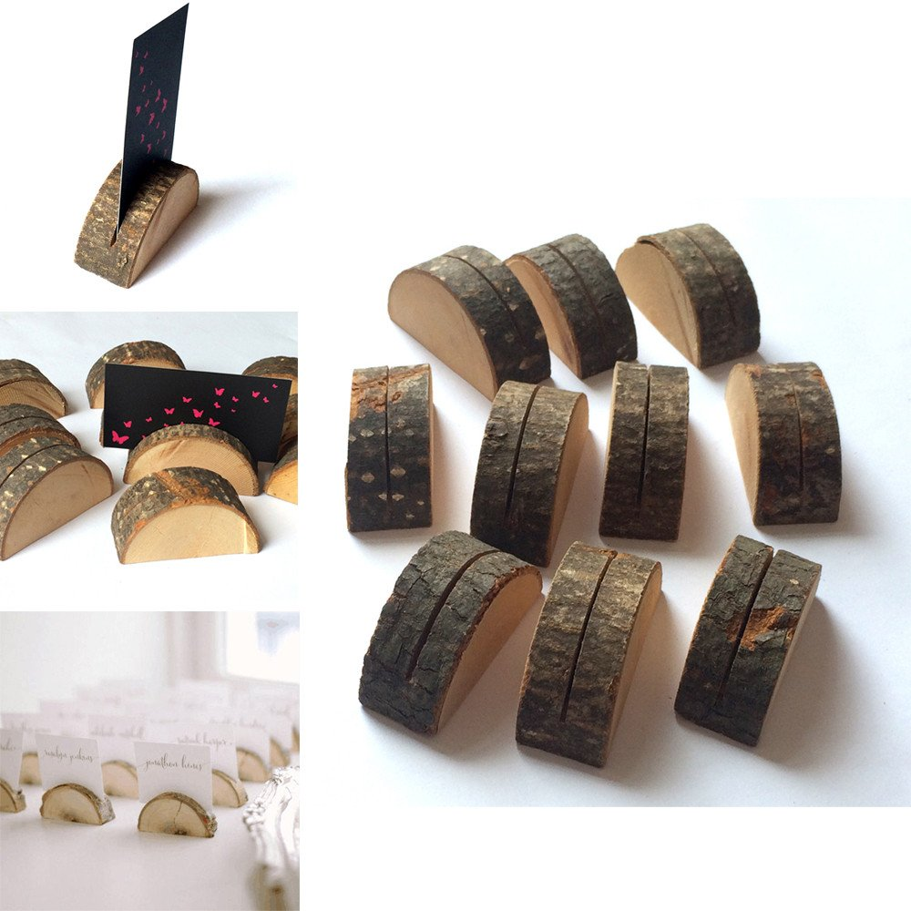 Cooljun Fashion 10pcs Rustic Wedding Table Wooden Place Number Name Card Stand Holder Decor