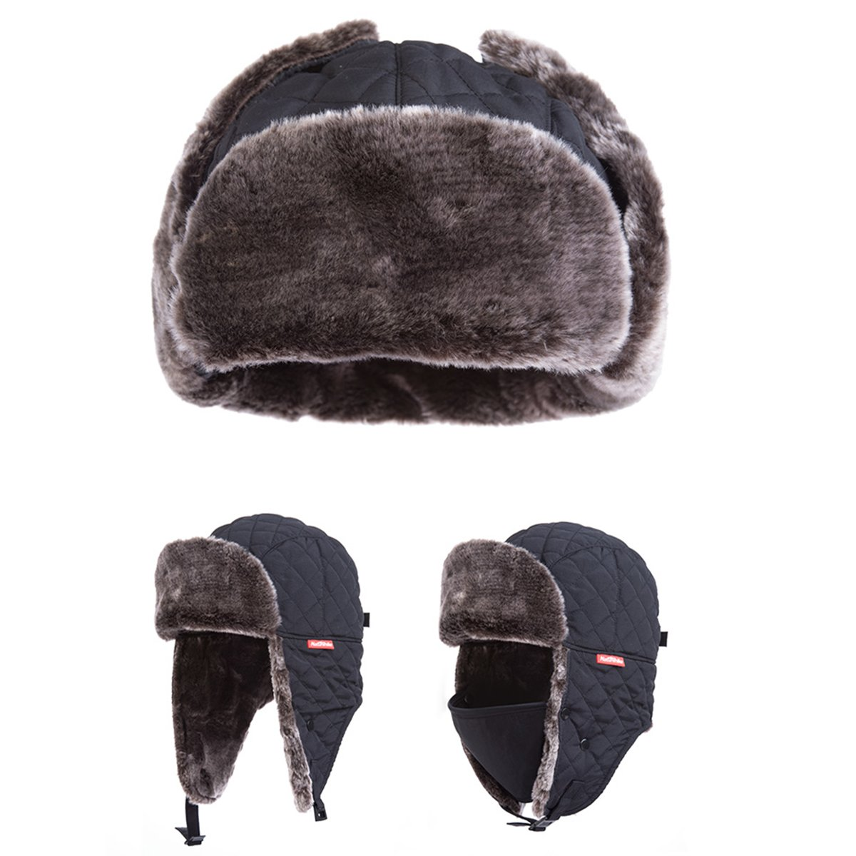 Azarxis Unisex Winter Trapper Hat Hunting Hat Ushanka Ear Flap Chin Strap with Windproof Mask (Black) by Azarxis (Image #2)
