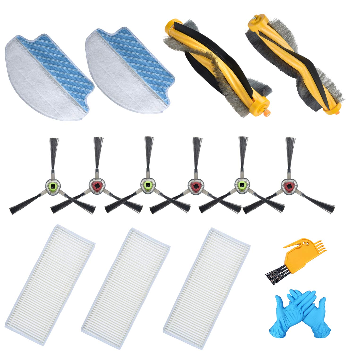 Joybros Replacement Parts:14 pcs of Air Filter Roller Brush Mopping Cloths Compatible for Ecovacs Accessories Deebot DR95-KTA R95 R96 R97 Vacuum Cleaner Replenishment Kit