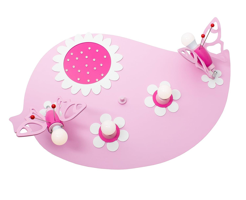 Deckenleuchte Blatt Falter rosa mit 20 LED`S warmweiß 135488