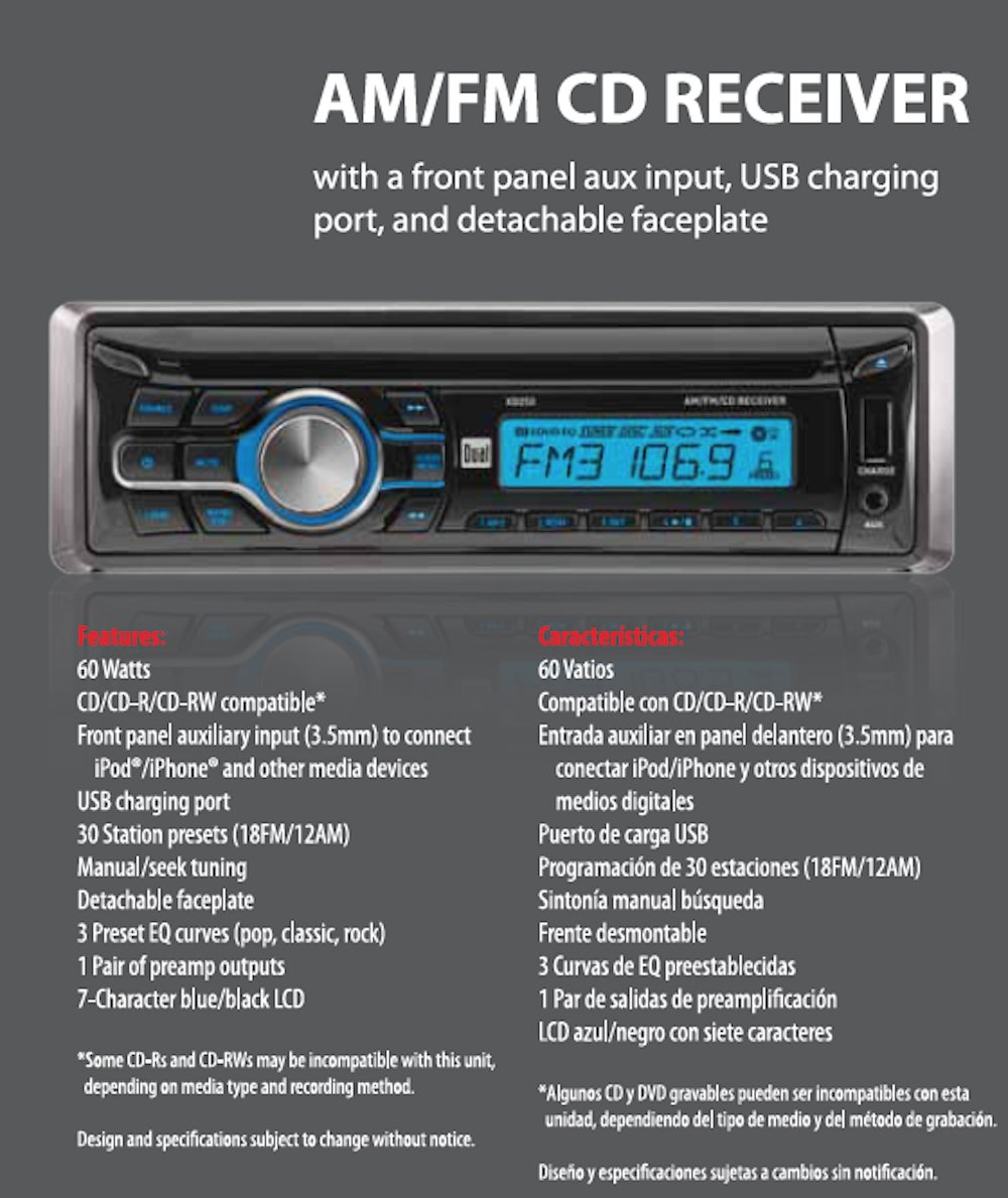 amazon com dual electronics xd250 multimedia detachable lcd single rh amazon com Dual CD Player Walmart Dual XD250 Stereo