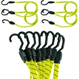 Houseables Bungee Cords With Hooks, Bungie Straps, 4 Pack, 48 Inch Long, Yellow, Flat, Premium Rubber, Bungy Chords, Adjustable, Long Bungi Rope for Dolly, Upcart, Car Trunk, Camping, Luggage, Moving