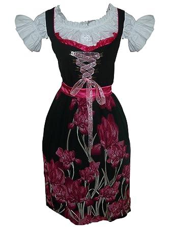 Di07 de exclusivas, de larga Dirndl, 3 piezas, Rosa Negro ...