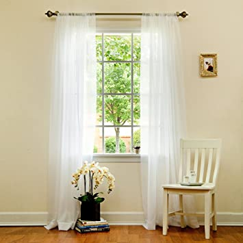Amazon.com: Best Home Fashion Sheer Voile Curtains -Back Tab/ Rod ...