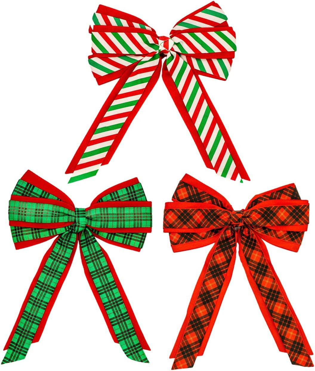 3 Pack and Stripes Holiday Bows Red 7 x 10 Inch Green