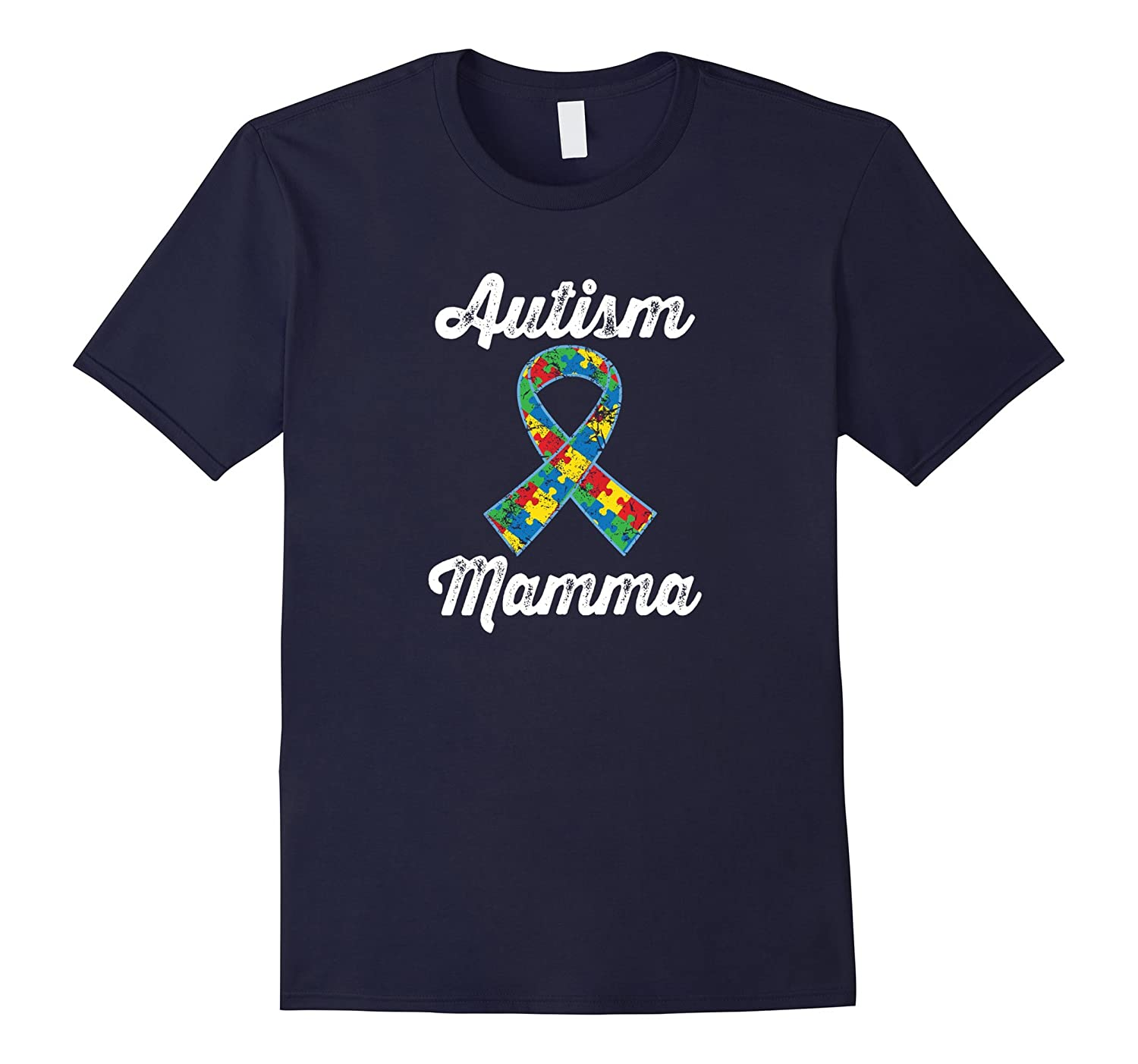 Autism Mamma Awareness Puzzle Ribbon Walk T-shirt-TH