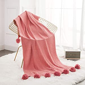 """Revdomfly 100% Cotton Knitted Throw Blanket with Pom Poms, Fuzzy & Fluffy Couch Cover Decorative Knit Blanket for Sofa Bed, 50"""" x 60"""", Dark Pink"""