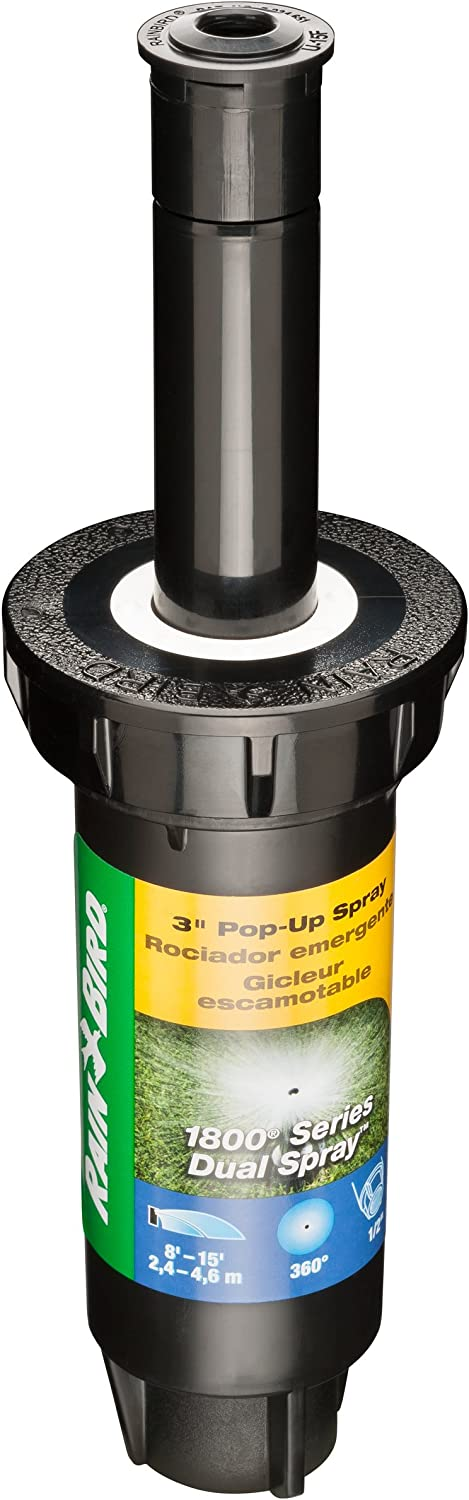"Rain Bird 1803DSF Professional Dual Spray Pop-Up Sprinkler, 360° Full Circle Pattern, 8' - 15' Spray Distance, 3"" Pop-up Height"