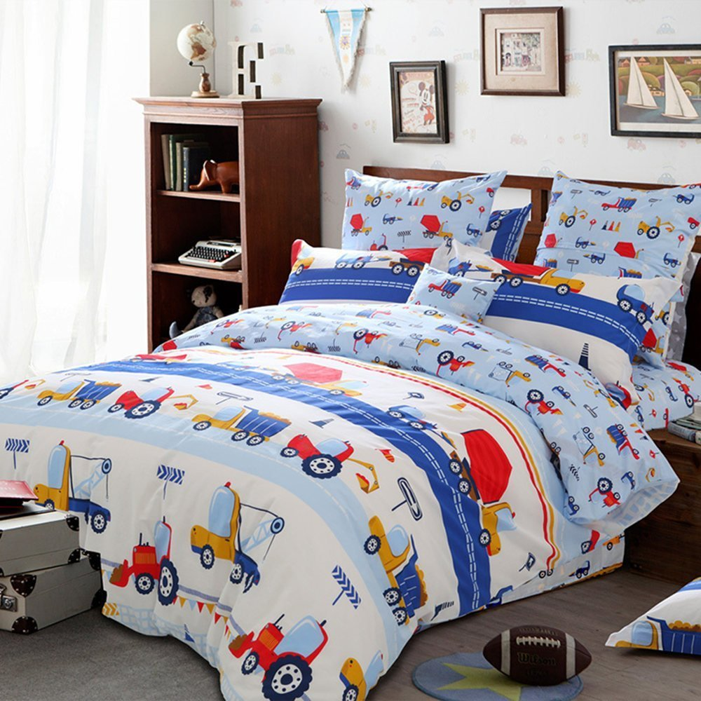 HNNSI Queen Size Boys Kids Truck Tractor Duvet /Comforter Cover and Sheet Set 4 Pieces, Children Teens Cute Truck Bedding Sets for Kids, Cotton Boys Collections Sets(Queen, Flat Sheet Set)