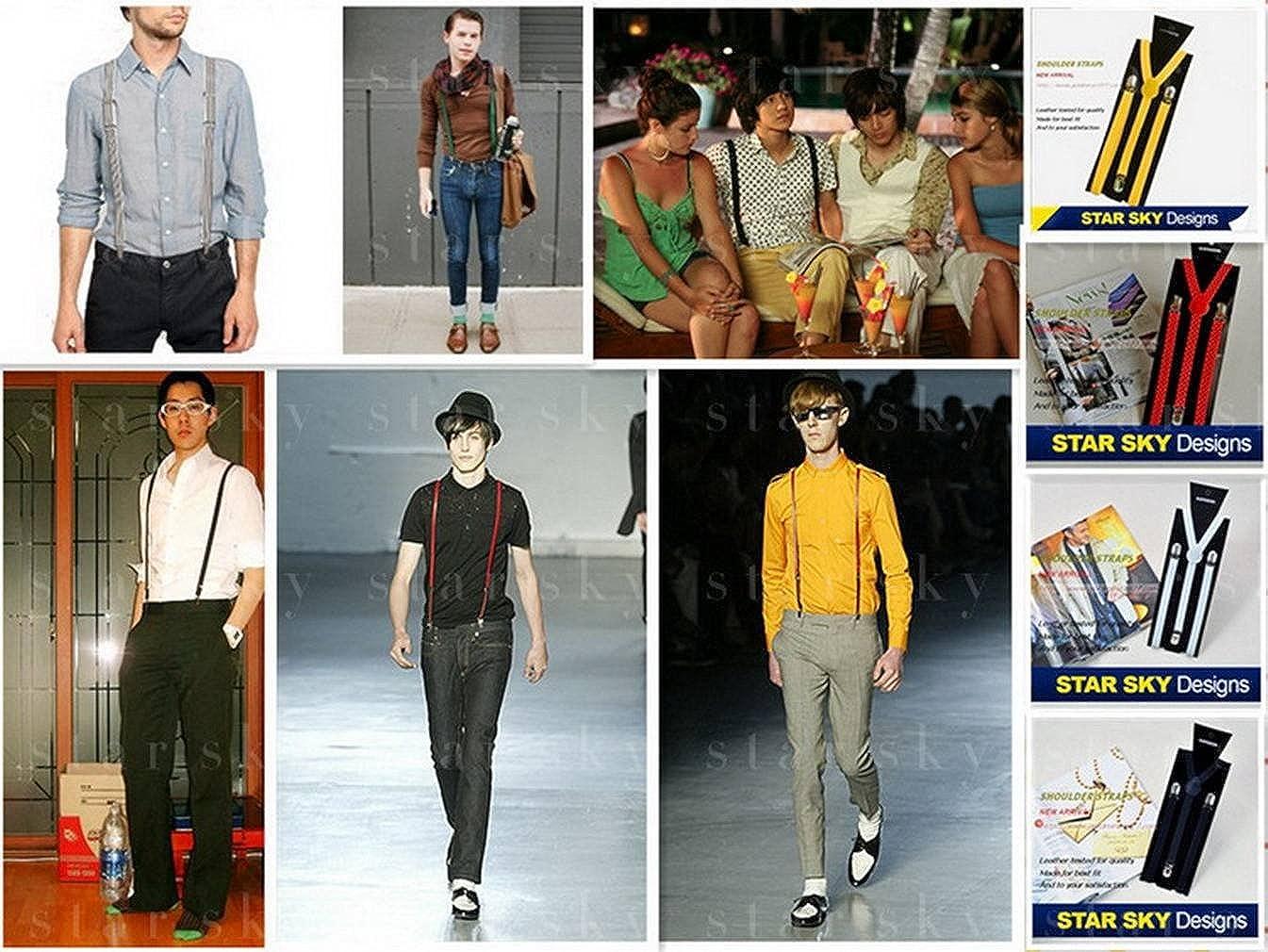 Xiang Ru Y Shape Adjustable Design Neon Glitter Clip-on Braces Suspenders