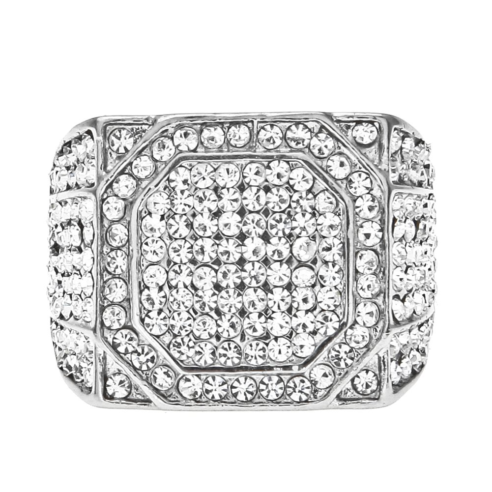 HongBoom Hot Hip Hop Rings 18K Gold Plated CZ CRYSTAL Fully Iced-Out Shine Ring (Silver/US size 12) by HongBoom (Image #1)