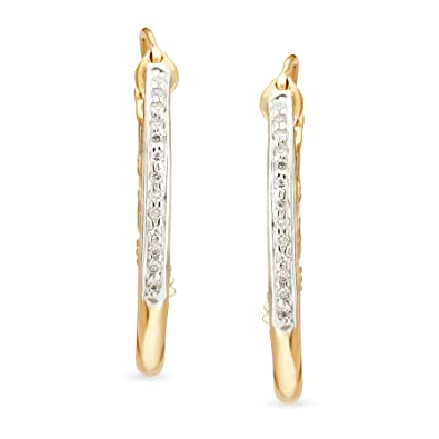 5b00f4e38ec2c Buy Mia by Tanishq 14KT Yellow Gold and Diamond Hoop Earrings for ...