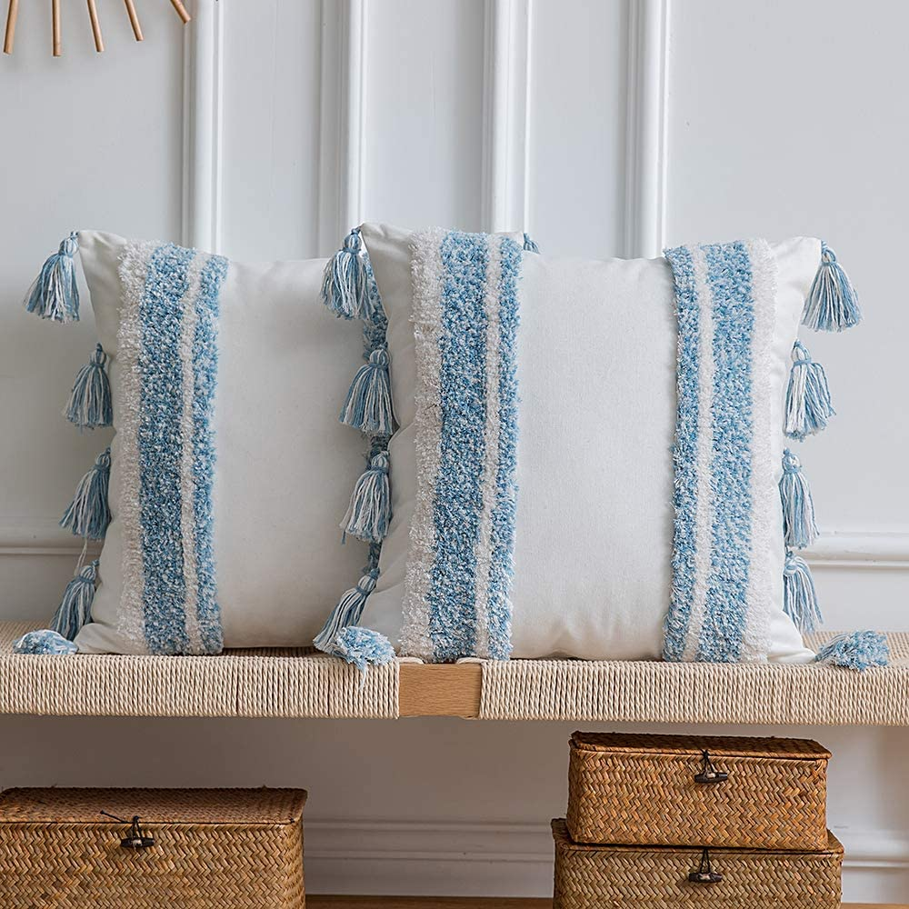 DEZENE Boho Throw Pillow Covers: Set of 2 Woven Tufted 100% Cotton Square Decorative Pillowcases with Tassels for Couch Sofa Bed, Accent Cushion Covers for Home Decor Farmhouse, 20 x 20 Inch Blue