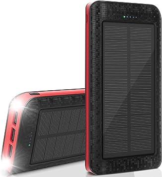 AMAES Cargador Solar Móvil 25000mAh Power Bank Batería Externa Banco de Energía Portátil 5V / 2.1A Cargador Rápido de Teléfono Celular, Linterna, ...