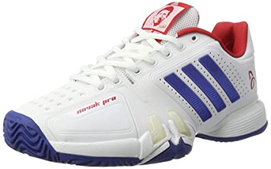 adidas Men's Novak Pro Tennis Shoes, White (FTWR White/Collegiate  Royal/Scarlet