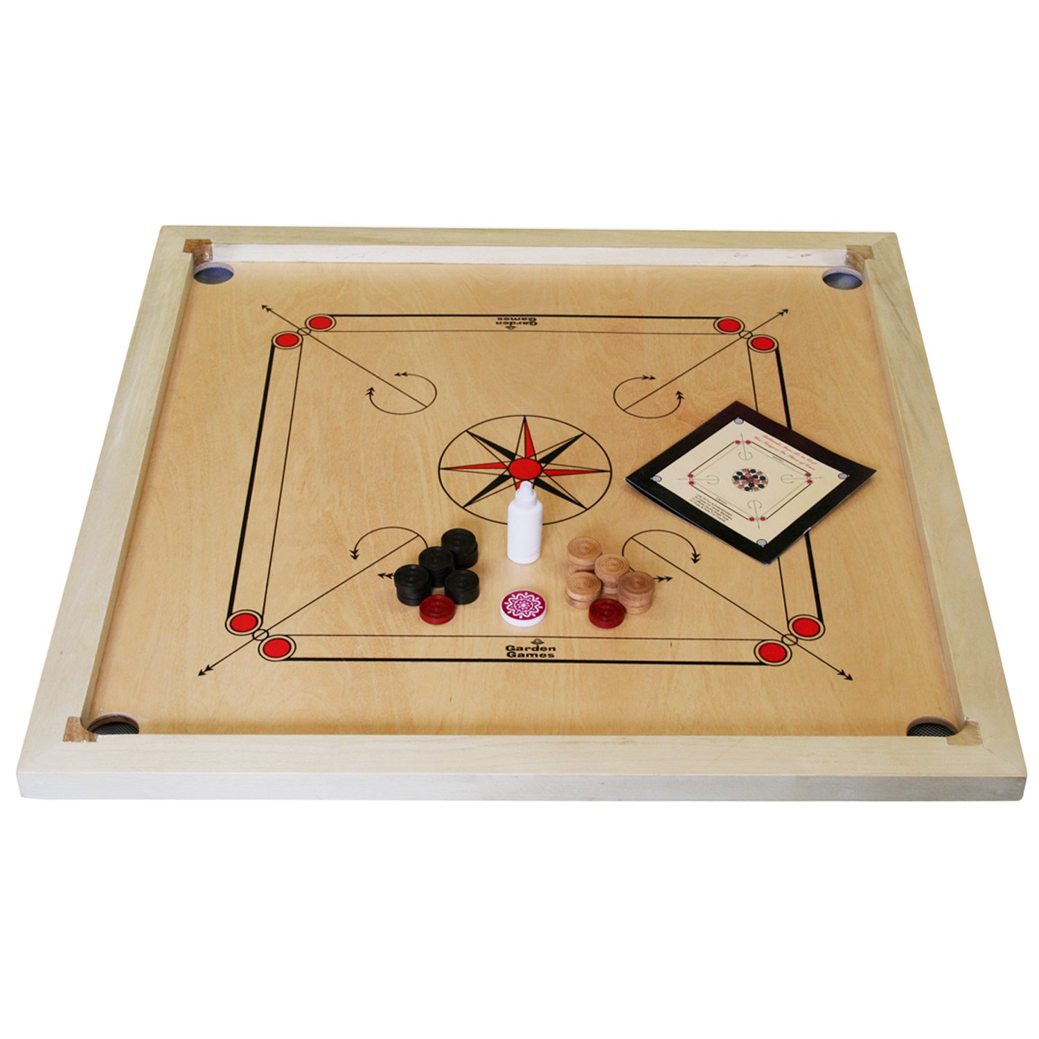 card game set wood handcrafted india full house place to call home box set Garden Games Carrom Board Set Made in India, 33 inch x 33 inch Polished  Mango Plywood Playing Surface with a Solid Mango Frame, Includes Coins, ...