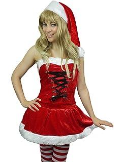13477c199fb Yummy Bee Santa Fancy Dress Deluxe Velvet Costume Christmas Womens Xmas  Claus (Women  8