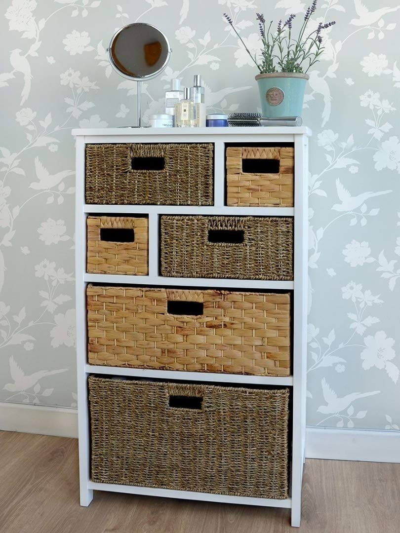 Tetbury Large White Storage Unit with 6 Drawers. Hallway bathroom basket storage. FULLY ASSEMBLED chest of drawers Statement Furniture