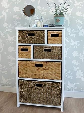 Tetbury Large White Storage Unit With 6 Drawers. Hallway Bathroom Basket  Storage. FULLY ASSEMBLED