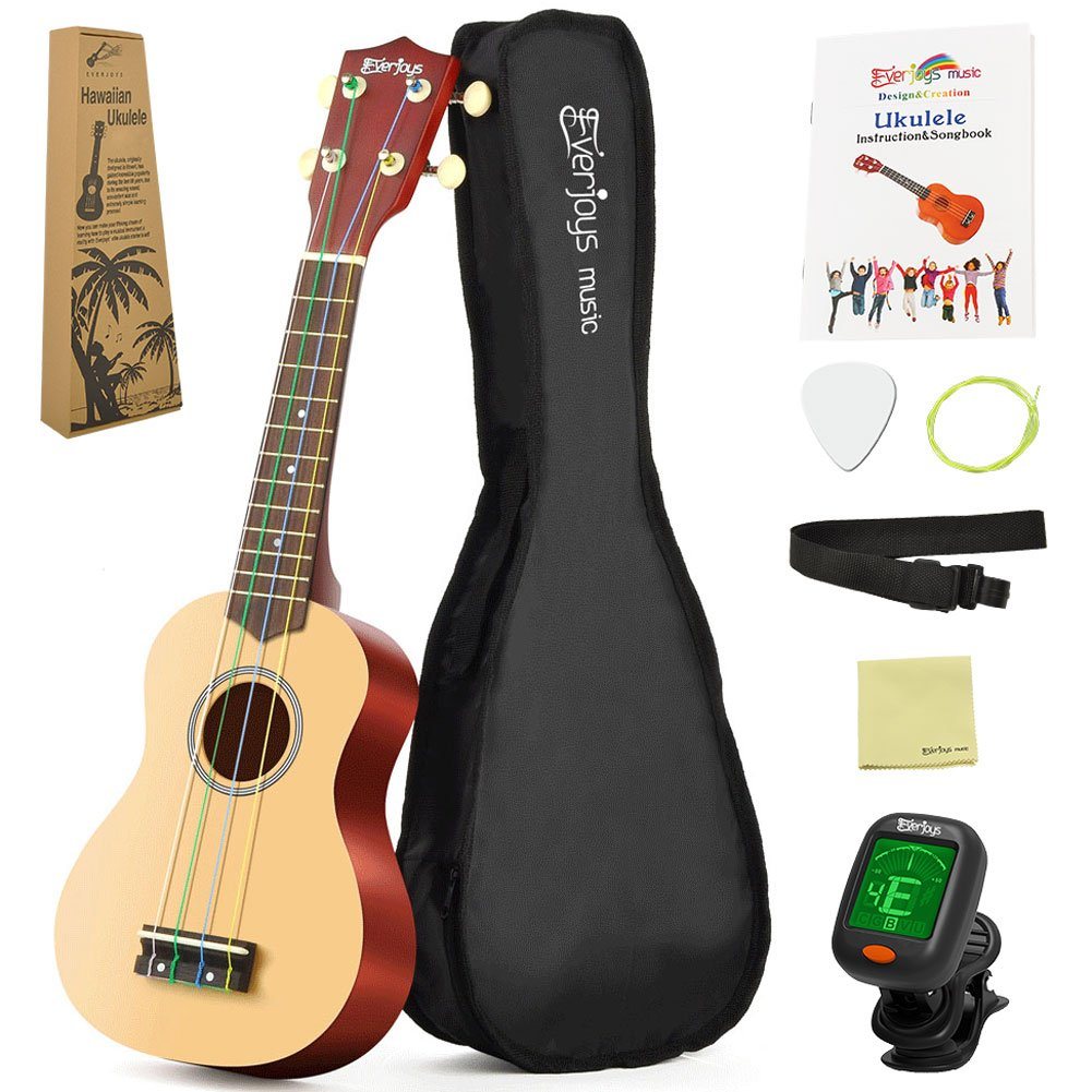 Soprano Rainbow Ukulele Beginner Pack-21 Inch w/ Gig Bag How to Play Songbook Digital Tuner All in One Kit EVERJOYS