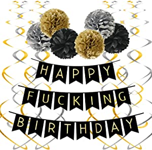 Famoby Black Happy FING Birthday Banner with Pom Poms Streamers for Party Decorations Supplies