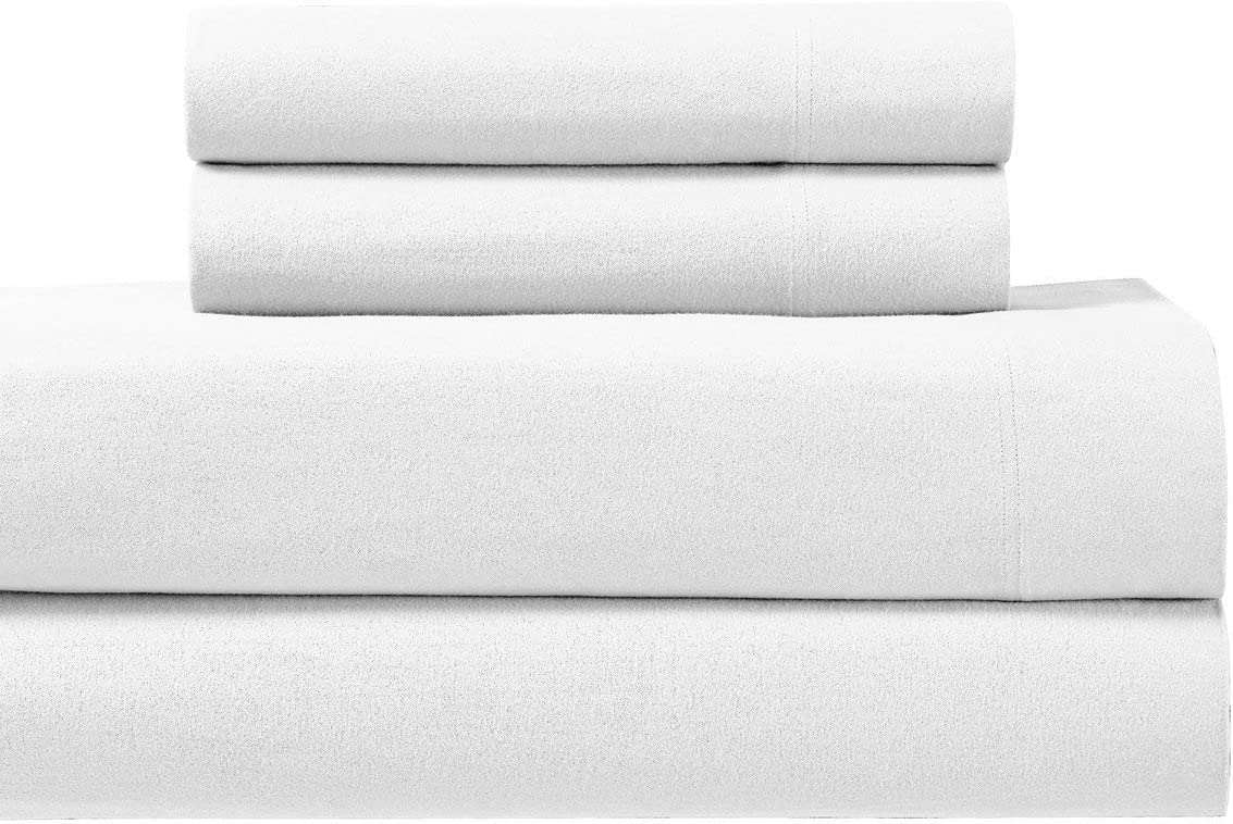 Amazon Com Royal S Heavy Soft 100 Cotton Flannel Sheets 4pc Bed Sheet Set Deep Pocket Thick Heavy And Ultra Soft Cotton Flannel White King Home Kitchen