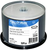 FalconMedia SmartGuard Glossy White Inkjet CD-R - 52x, 700mb/80 Minute, Hub-Printable, Water Resistant - 50 Pack