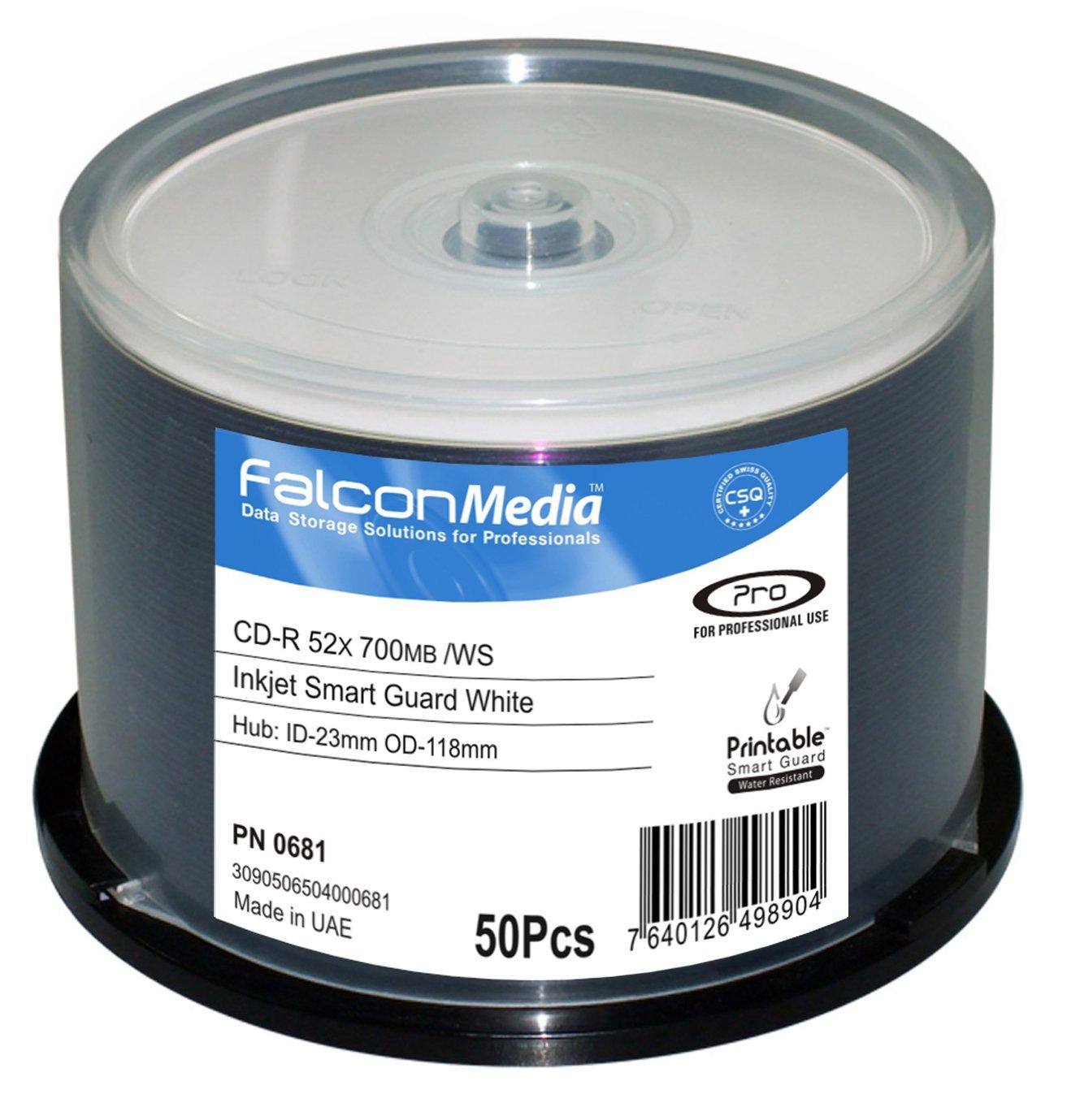 FalconMedia SmartGuard Glossy White Inkjet CD-R - 52x, 700mb/80 Minute, Hub-Printable, Water Resistant - 50 Pack by FalconMedia