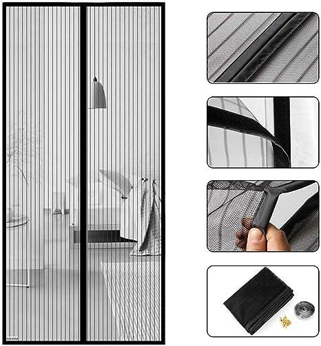 Tenda Porta Magnetica Chiusura Automatica Totalmente Magnetica per Porte di Soggiorno Camera da Letto Casa GUOGAI Zanzariera Magnetica Finestre 70x190cm Bianco 28x75inch