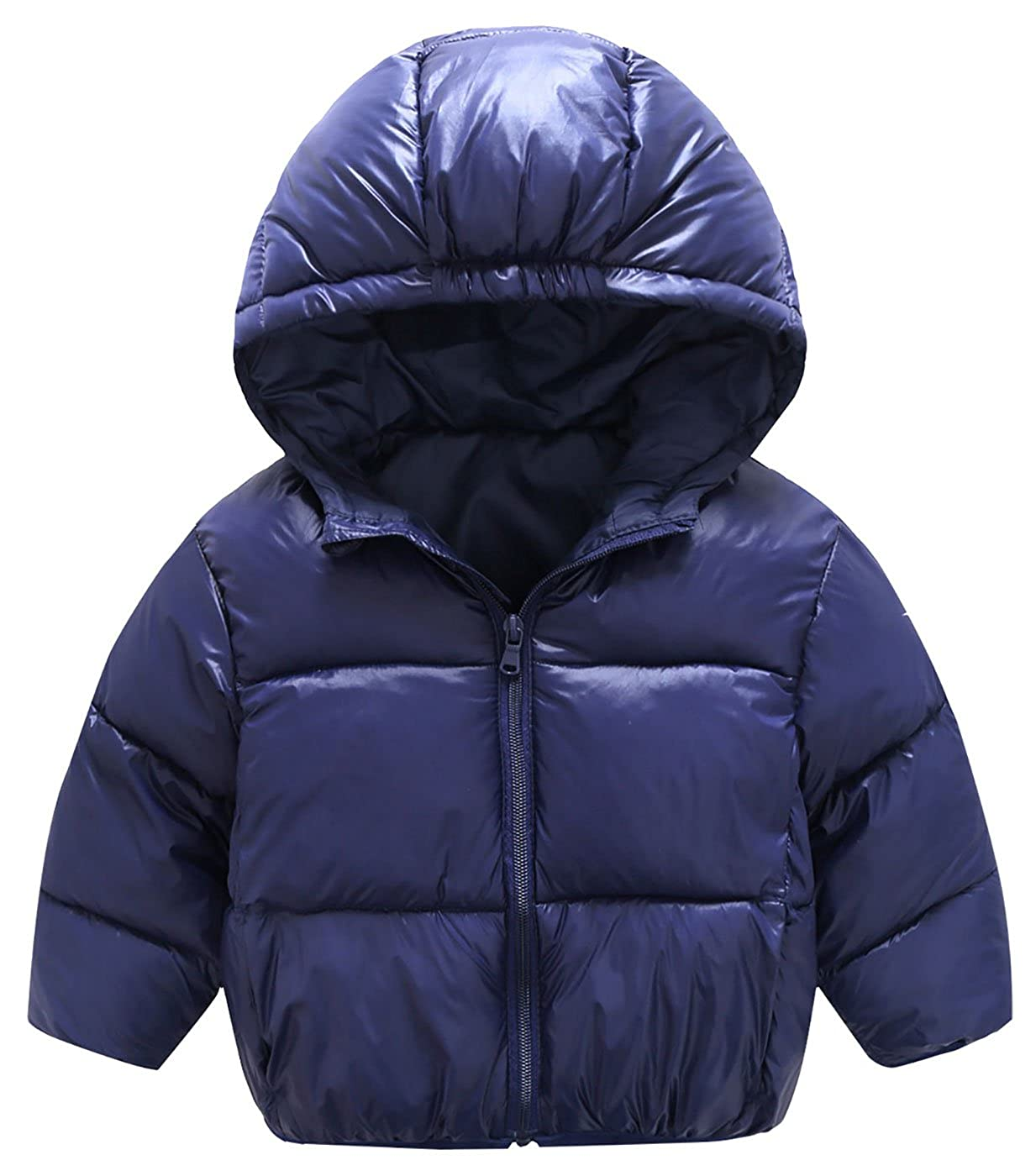 Mengxiaoya Toddler Hooded Coat Winter Lightweight Down Jacket Packable Cotton Coat Navy Blue 2T-3T