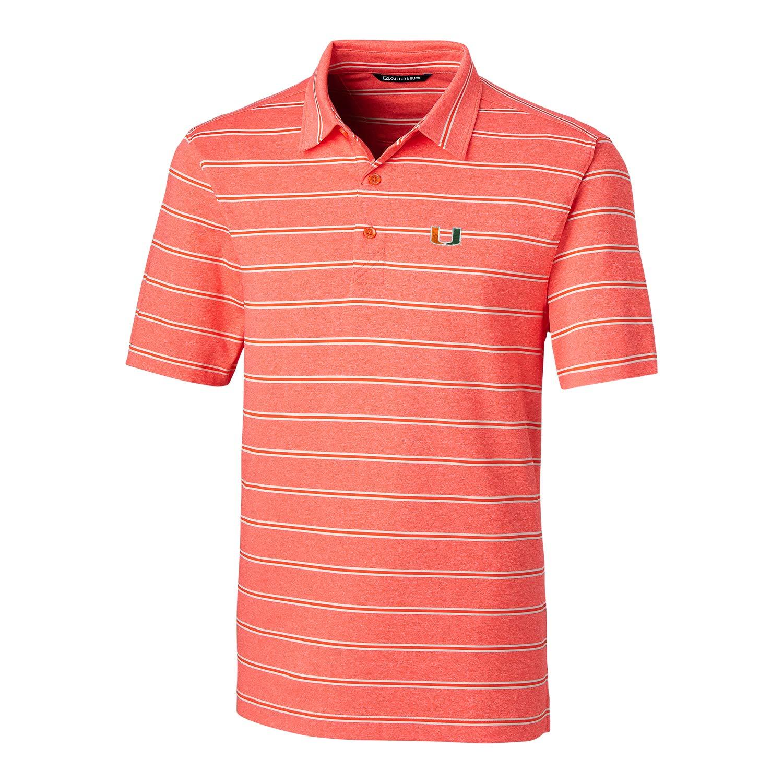 X-Large College Orange NCAA Miami Hurricanes Short Sleeve Heather Stripe Forge Polo