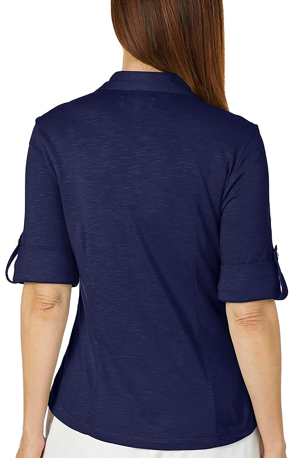 Coral Bay Petite Solid Button Placket Roll Tab Sleeve Top