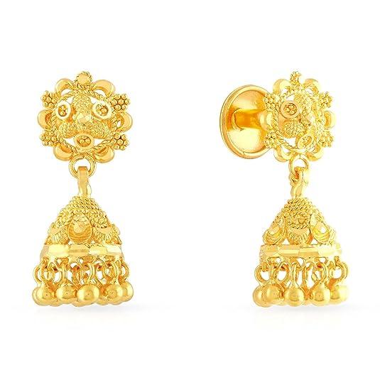 Malabar Gold  amp; Diamonds 22KT Yellow Gold Jhumki Earrings for Women Earrings