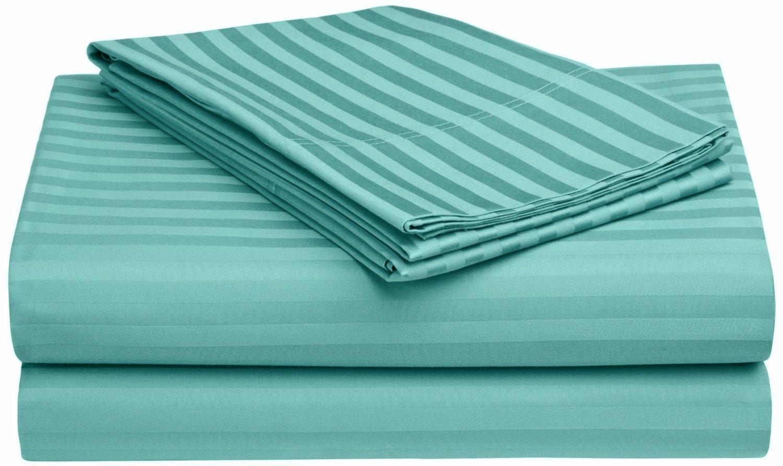 100% Egyptian Cotton 650 Thread Count Twin 3-Piece Sheet Set, Deep Pocket, Single Ply, Stripe, Teal