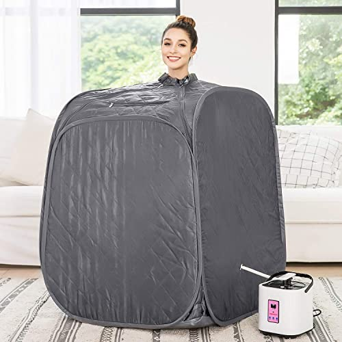 Aceshin Portable Steam Sauna Home Spa, 2L Personal Therapeutic Sauna Weight Loss Slimming Detox with Foldable Chair, Remote Control, Timer Grey