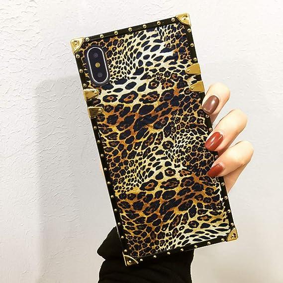 Amazon Com Leopard Print Wallpaper Square Case For Iphone X