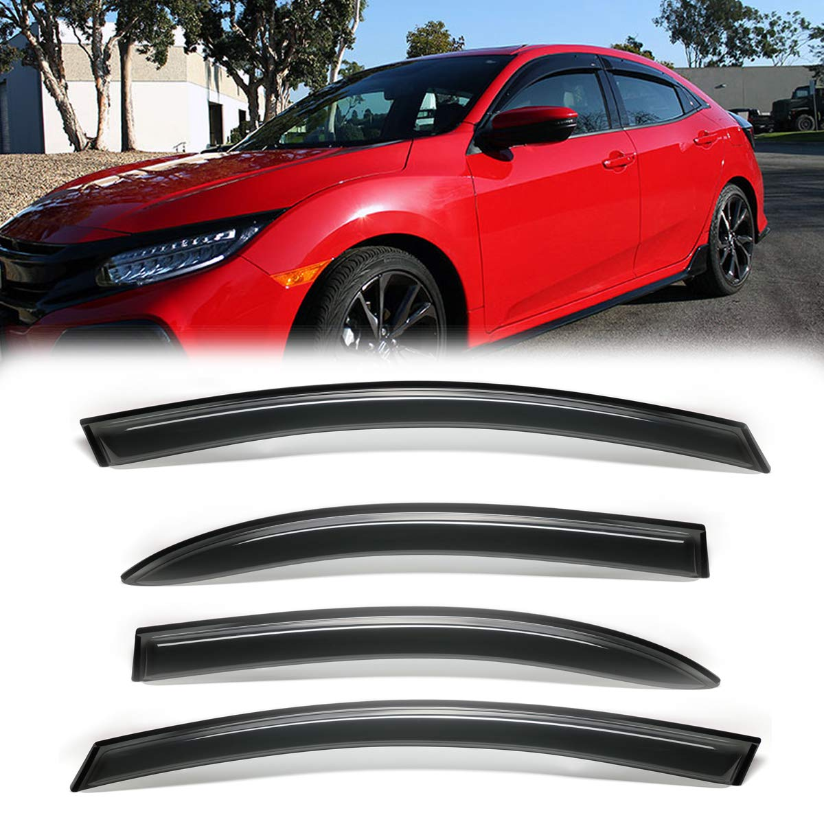4pcs Smoke Sun//Rain Guard Vent Shade Window Visors Fit 06-11 Civic 4-Door Sedan