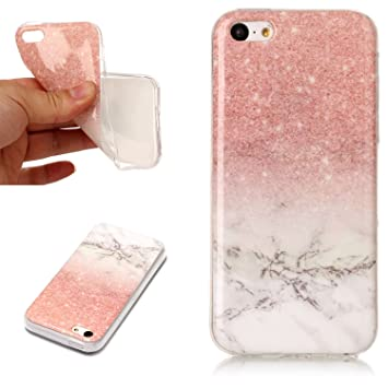 KANTAS Silicone Marble Case for iPhone 5C Cover Gradient Glitter Color Rose  Gold White Design Rubber c99c641f4a