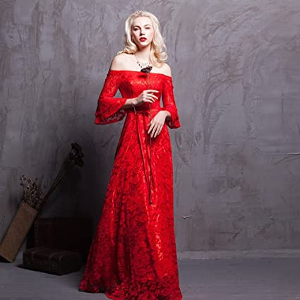 DHG Nueva Boda Bridesmaid Vestido de Novia,Rojo,L