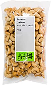 The Market Grocer Premium Roasted and Unsalted Cashews, 400 g