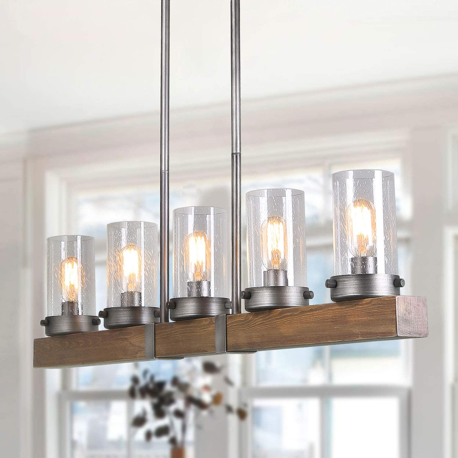 """Farmhouse Wood Chandelier, 5-Light Linear Chandeliers for Dining Rooms, L42.9 x W3.9""""x H9.4"""""""