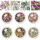 EBANKU 6 cajas mixtas para decoración de uñas, diamantes de imitación, diamantes y cristales, para decoración de uñas en…